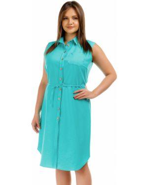 Летнее платье бирюзовый на пуговицах Liza Fashion