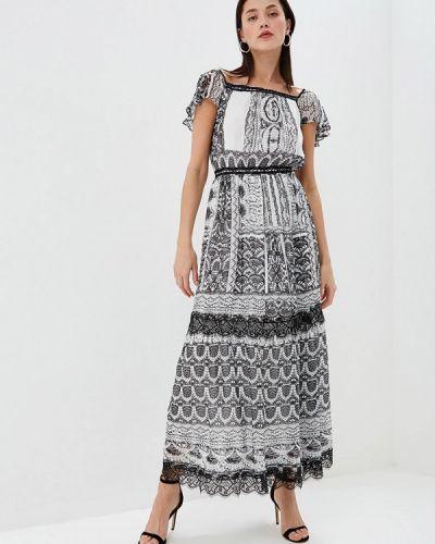 Платье серое с открытыми плечами Lusio