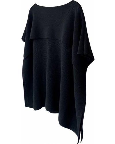 Czarny sweter krótki rękaw bawełniany Issey Miyake