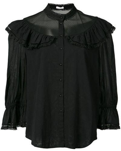 Блузка с рюшами с воротником-стойкой прозрачная с длинным рукавом Vilshenko