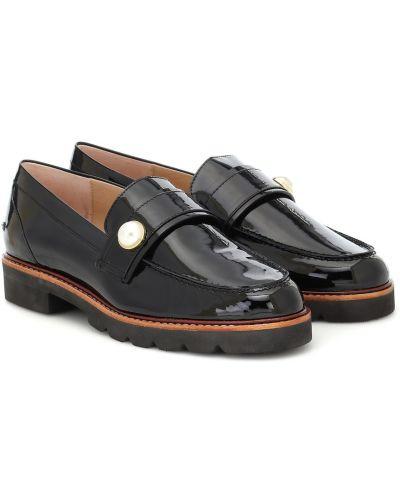 Skórzany czarny loafers Stuart Weitzman