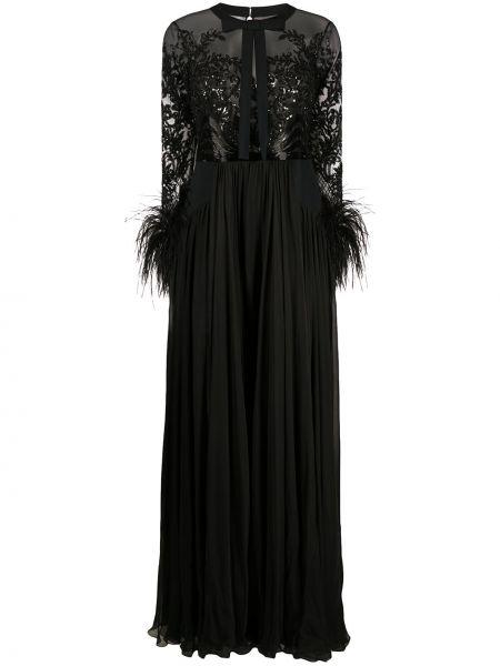 Шелковое черное платье макси с перьями Zuhair Murad