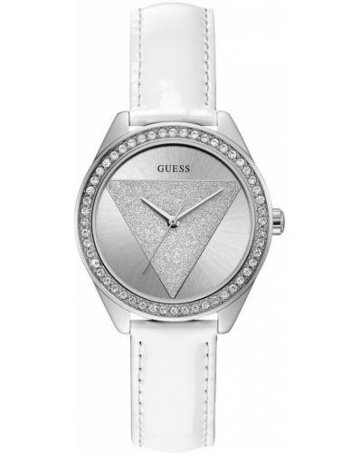 Biały brokatowy zegarek Guess