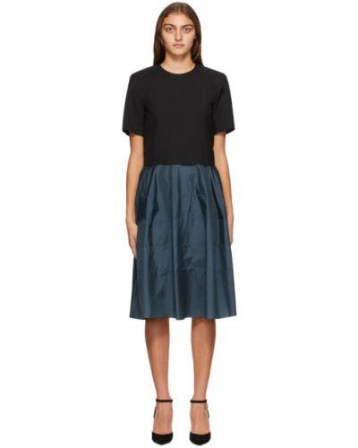 Черное шелковое платье с карманами без рукавов Nina Ricci