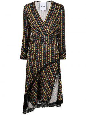 Кружевное черное платье макси в полоску Koché