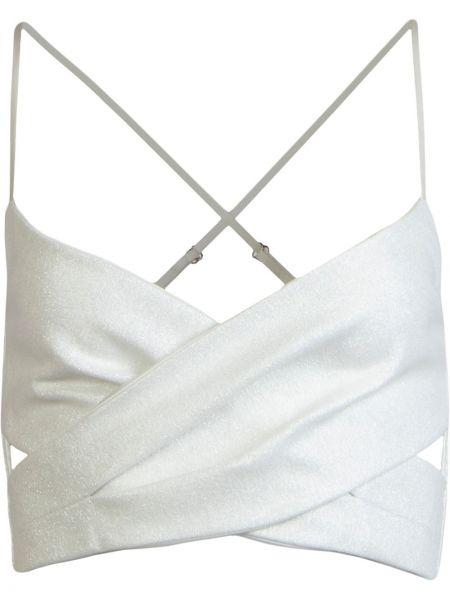 Ватный белый кроп-топ бандажный с V-образным вырезом Michelle Mason