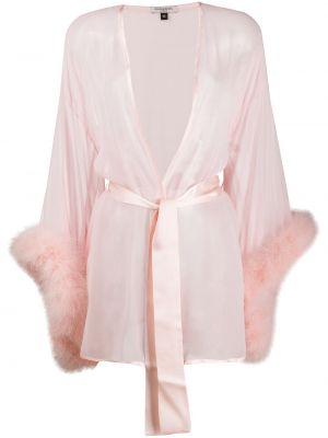 Открытый шелковый розовый халат с перьями Gilda & Pearl