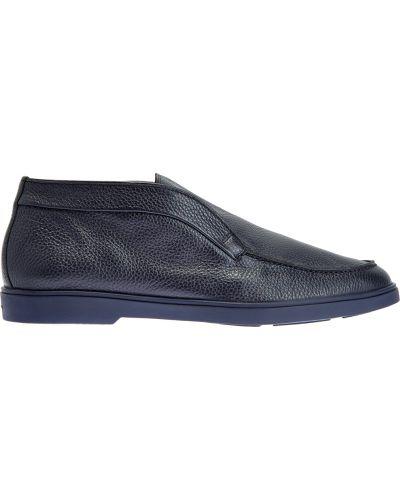 Синие кожаные ботинки с подкладкой Santoni