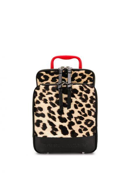 Skórzany plecak czarny lampart Marc Jacobs
