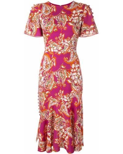 Платье миди с короткими рукавами - фиолетовое Prabal Gurung