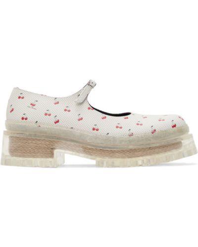 Białe loafers klamry skorzane Marc Jacobs