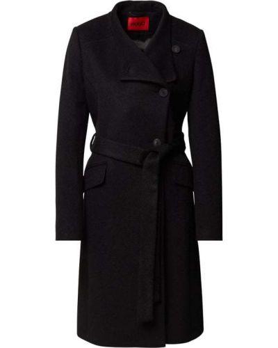 Czarny płaszcz wełniany Hugo