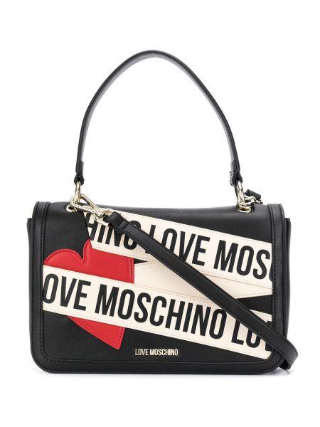 Черная сумка-тоут с карманами с заплатками Love Moschino