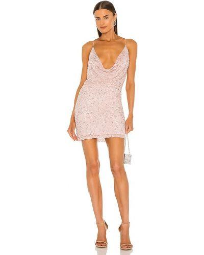 Różowa sukienka na imprezę z wiskozy z siateczką Retrofete
