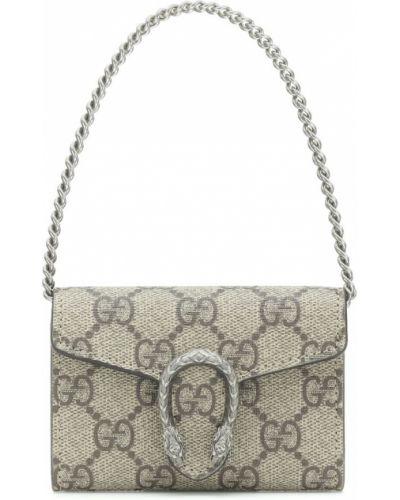 Домашний кожаный бежевый клатч на цепочке Gucci