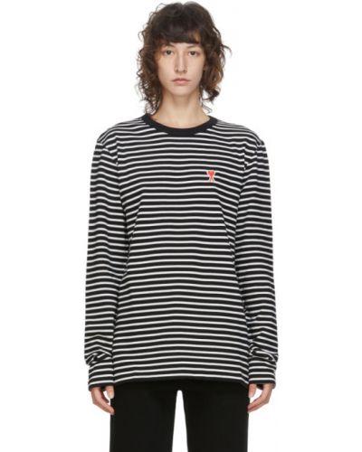 Черная рубашка с воротником с вышивкой с длинными рукавами Ami Alexandre Mattiussi