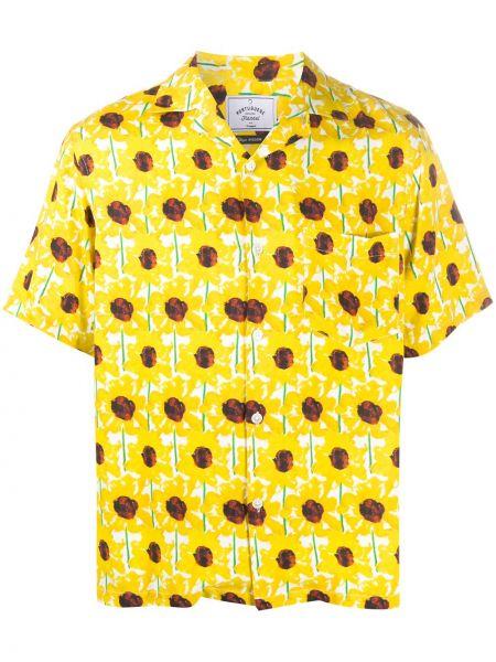 Желтая прямая фланелевая рубашка с короткими рукавами с воротником Portuguese Flannel