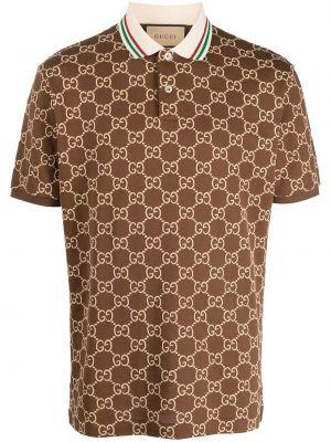 Brązowa koszula krótki rękaw bawełniana Gucci