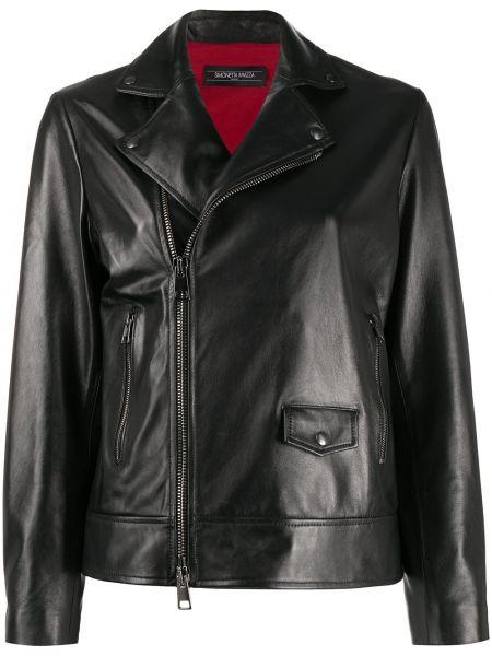 Черная кожаная куртка байкерская Simonetta Ravizza