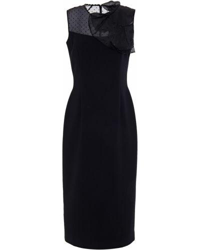 Черное текстильное платье миди на крючках Jenny Packham