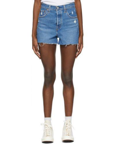 С завышенной талией кожаные джинсовые шорты с карманами Levi's®