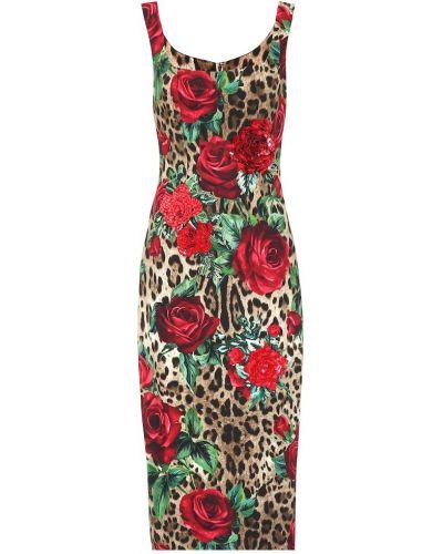 Платье миди с пайетками в рубчик Dolce & Gabbana