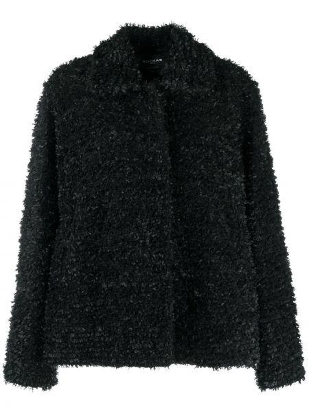 Ватная черная длинная куртка с воротником Rochas
