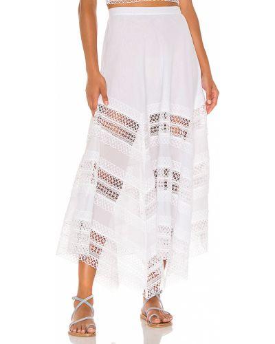 Biały ażurowy spódnica maxi z zamkiem błyskawicznym z haftem Charo Ruiz Ibiza