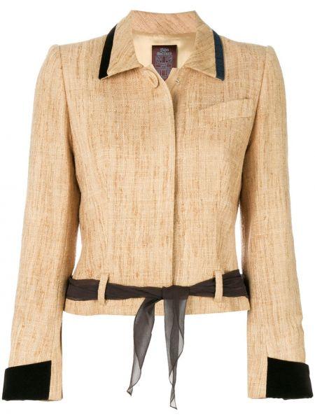 Шелковый коричневый пиджак с поясом John Galliano Pre-owned