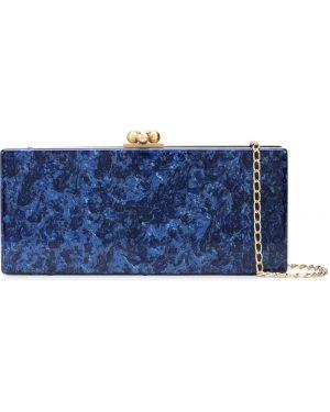 Акриловая золотистая синяя сумка прямоугольная Edie Parker