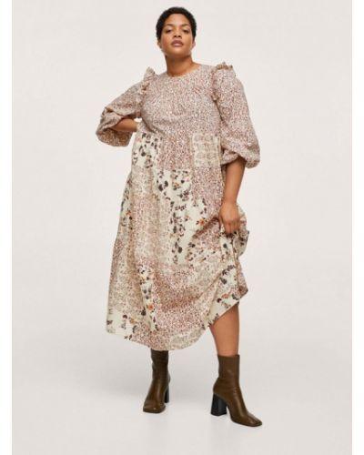Бежевое платье осеннее Violeta By Mango