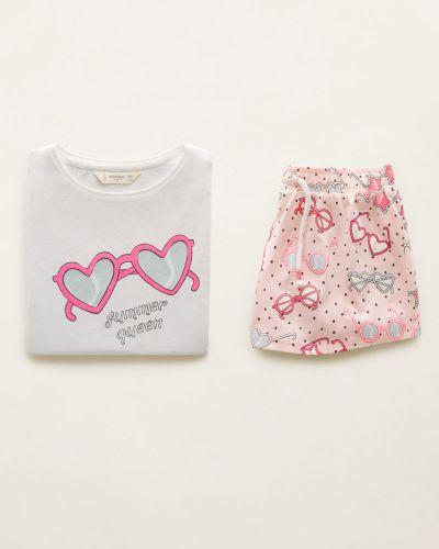 Пижама трикотажная розовый Mango Kids
