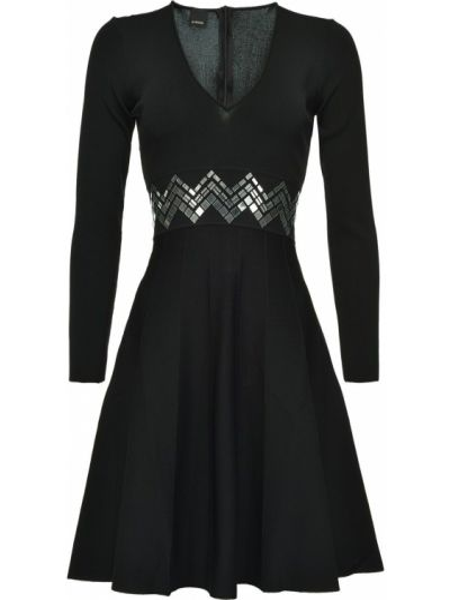 Расклешенное платье миди с пайетками с V-образным вырезом на молнии Pinko