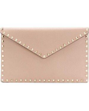 Różowa kopertówka skórzana z haftem Valentino