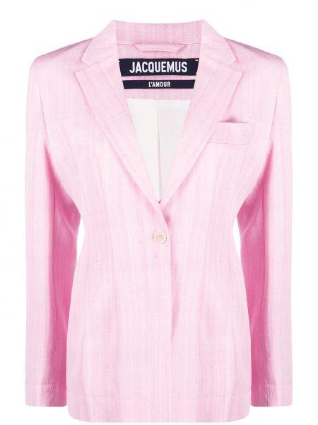 Шелковый розовый удлиненный пиджак с карманами Jacquemus