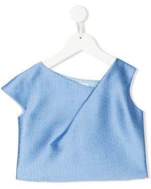 Синяя шелковая с рукавами блузка Señorita Lemoniez