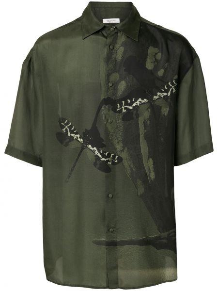 Koszula krótkie z krótkim rękawem jedwab z nadrukiem Valentino