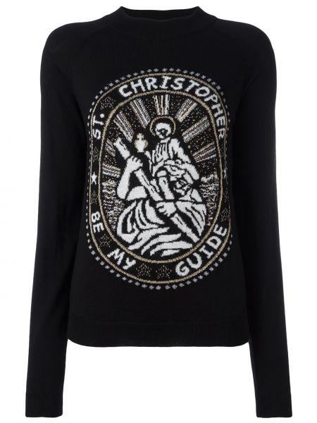 Czarny sweter wełniany z długimi rękawami Christopher Kane