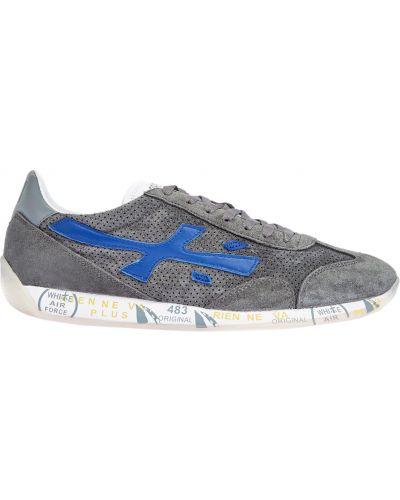 Серые кожаные кроссовки на шнуровке Premiata