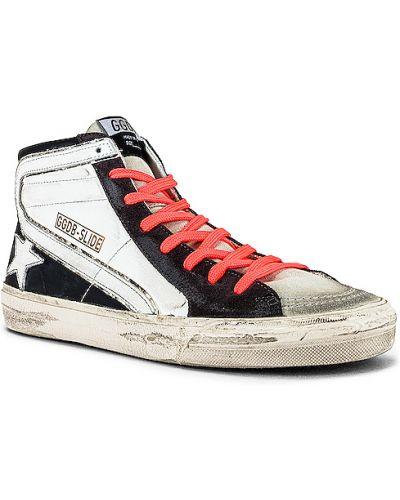 Ażurowy czarny włókienniczy skórzane sneakersy na sznurowadłach Golden Goose