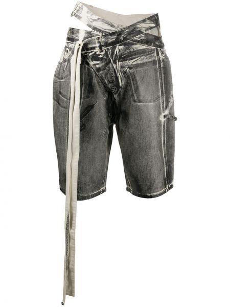 Черные с завышенной талией джинсовые шорты оверсайз Ottolinger