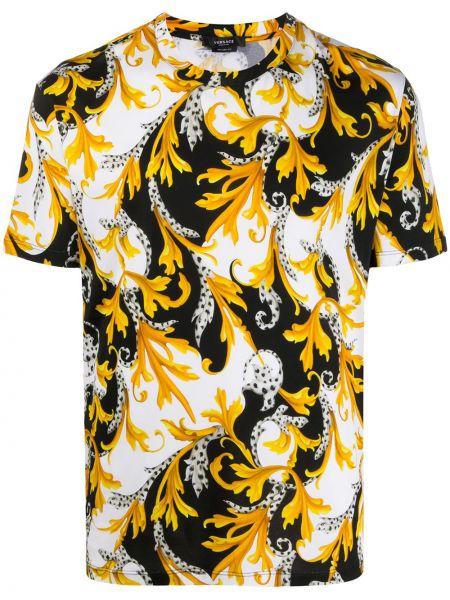 Хлопковая белая рубашка с короткими рукавами Versace
