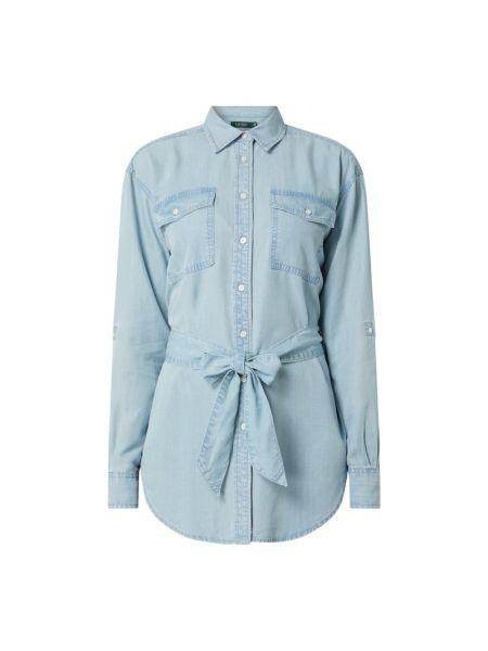 Włókienniczy niebieski bluzka z długim rękawem z kołnierzem z długimi rękawami Lauren Ralph Lauren