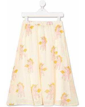 Желтая расклешенная юбка мини с поясом Mini Rodini