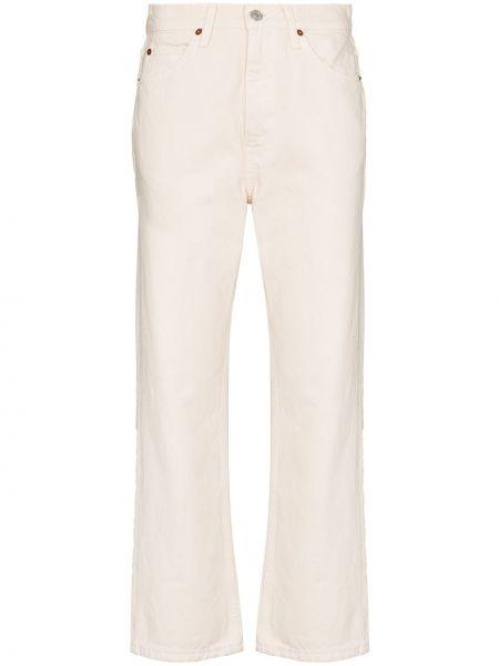 Хлопковые белые джинсы с высокой посадкой с карманами с заплатками Re/done