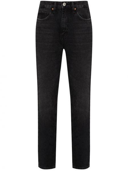 Bawełna prosto bawełna czarny jeansy o prostym kroju Re/done