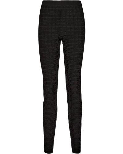 Черные леггинсы из вискозы с тиснением Givenchy