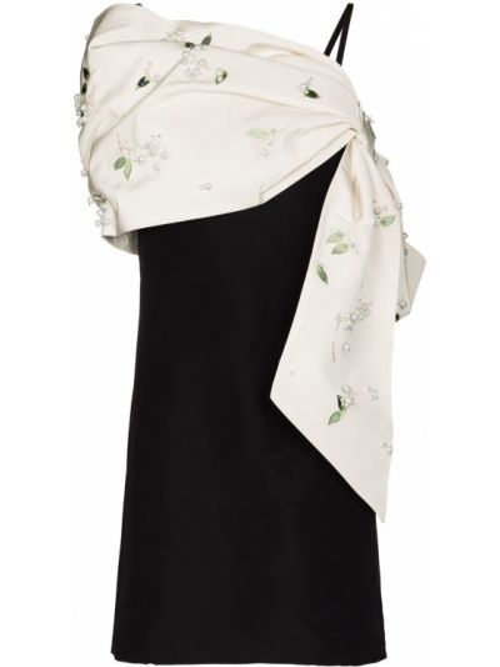 Черное шелковое платье мини Carolina Herrera