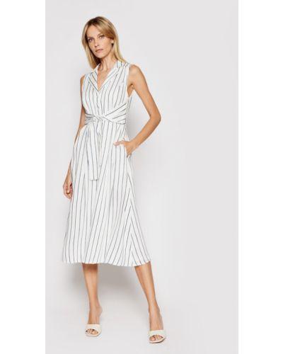 Biała sukienka koszulowa Dkny