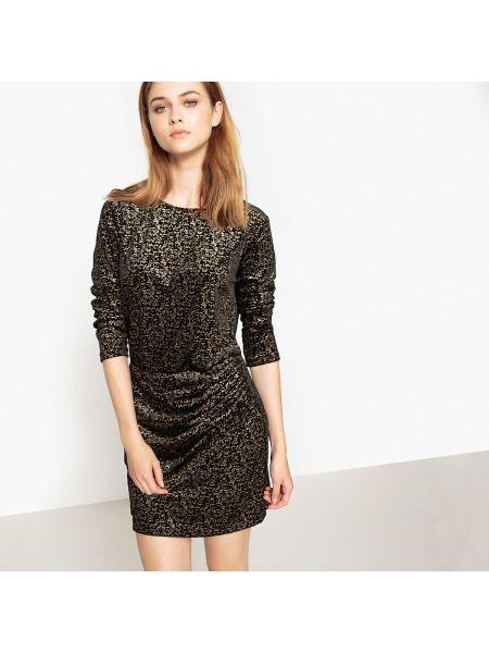 С рукавами черное прямое платье мини с рисунком See U Soon